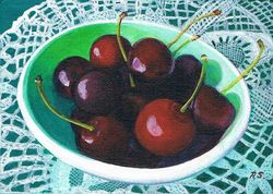 Cherries in a Bowl and Lace