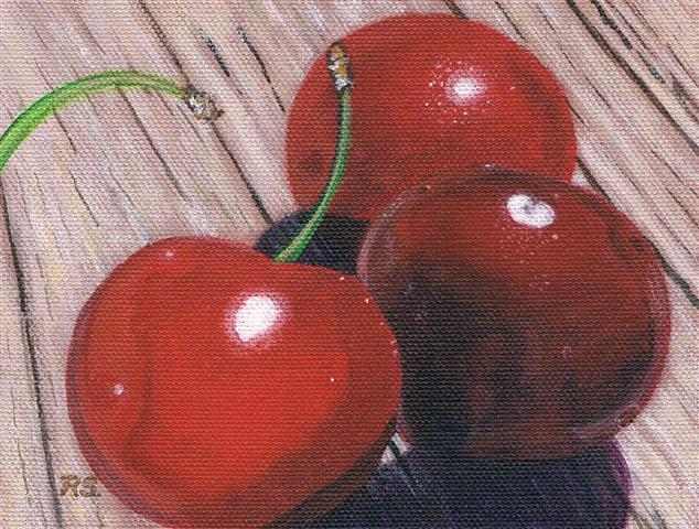 Cherries on Wood  - Copy