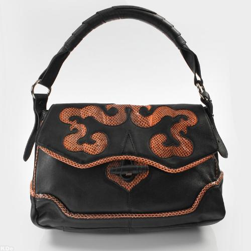 NINA RAY LAMBSKIN AND SNAKE HANDBAG